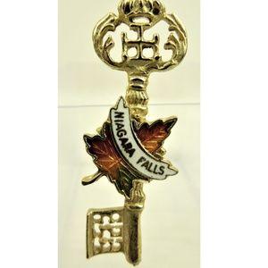 Vintage Brooch Niagara Falls Scatter Pin Key Leaf